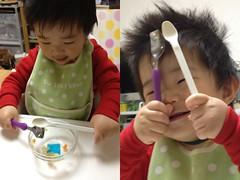 ご機嫌な朝御飯とらちゃん(2012/4/11)
