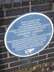 Photo of The Austin Village and Herbert Austin blue plaque