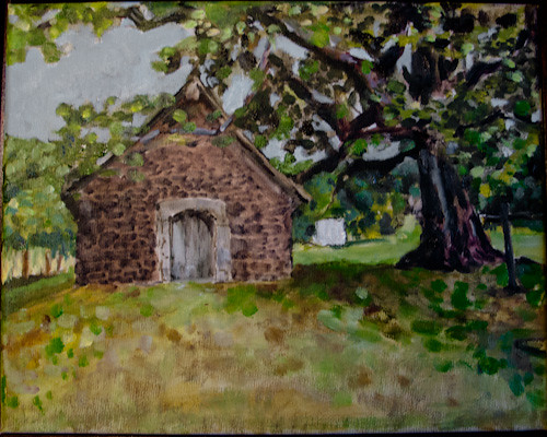 France, chapel and tree / painting under construction