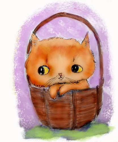 kitty in basket by Emilyannamarie