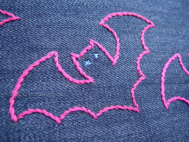 hand embroidery stem stitch bats