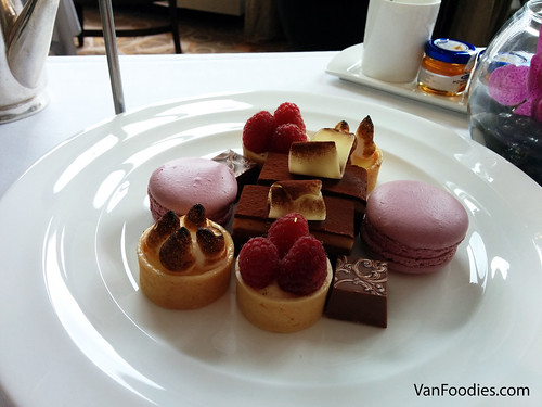 Raspberry Tart, Lemon Meringue Tart, Chocolate Truffle, Cassis Macaron,  Chocolate Vienetta
