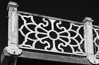 Image of West Entrance. uk bw monochrome architecture nikon panel unitedkingdom britain decorative victorian westpier castiron fencing railing brightonhove floralmotif georgerex ccbysa blackandwhiteengland imagesgeorgerex photobygeorgerex