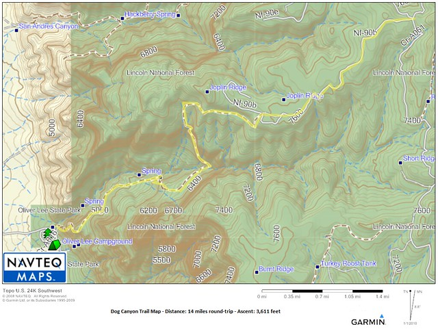 Dog Canyon Topo Map