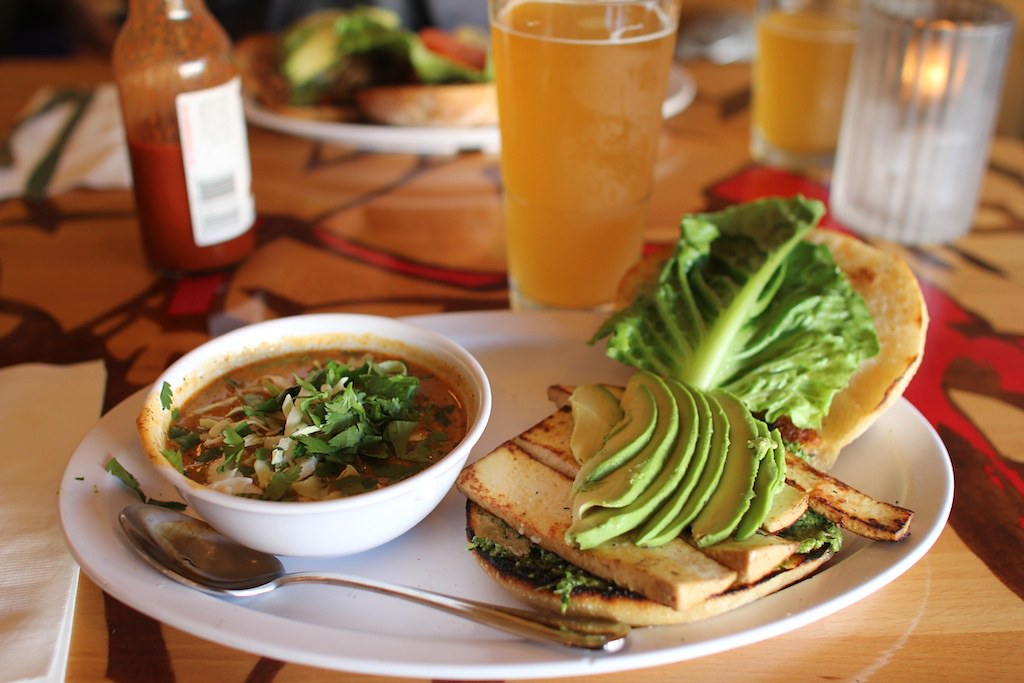 tofu pesto sandwich & soup