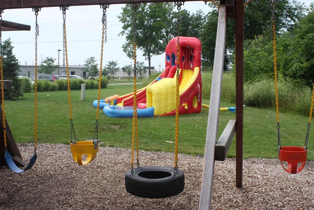 Outdoor Play Westerville  Buckeye Gymnastics Westerville outdoor play area and water slide