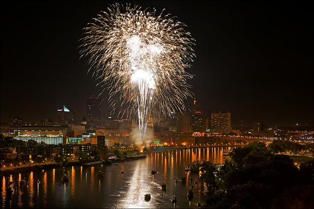 fireworks over st. paul minnesota july 4th