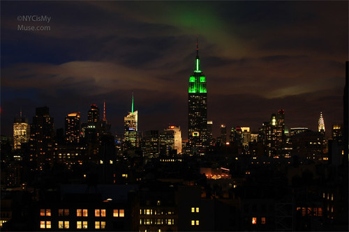 More amazing NYC skyline clouds, Empire State Building in Green for Earth Day