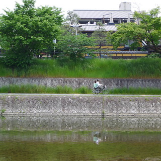 Cycling Kamo River Kyoto