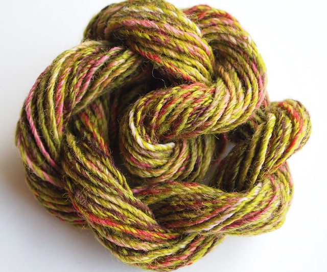 FCK-Old Rose & Leaf Eater, 2ply then chain plied-23yds-2