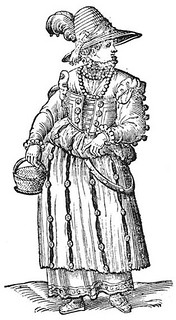 Cesare Vecellio: Peasant woman from outskirts of Venice as seen in town on Ascension Day, 1590 De gli Habiti antichi et moderni di Diverse Parti del Mondo