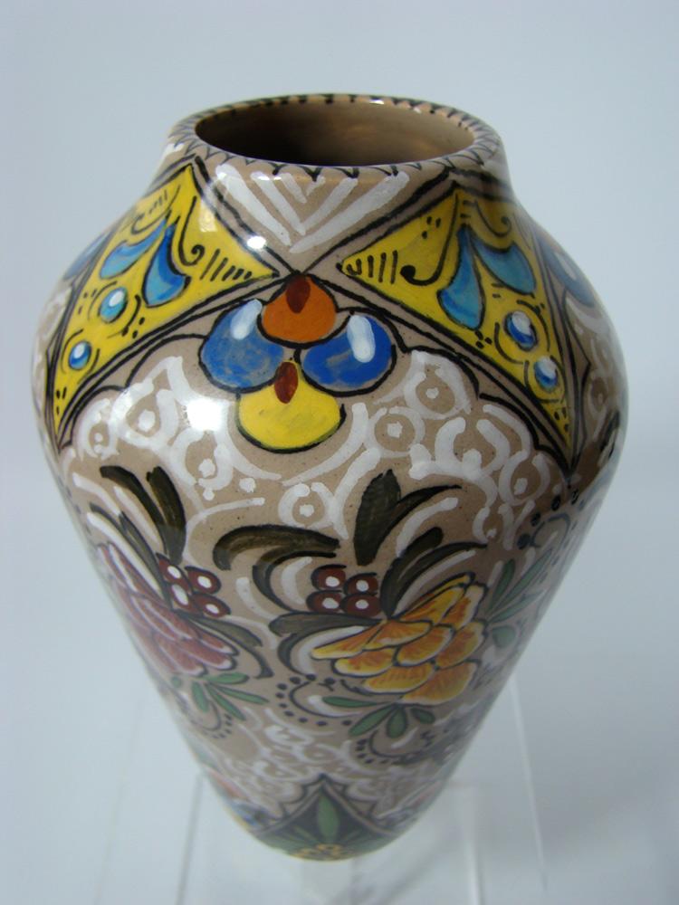 Jugendstil Majolika Vase Art Nouveau Signed Maiolica