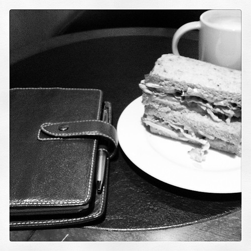 #fflovephotoaday - Day 29: Monochrome. Mr. Malden & me, sharing a club sandwich at Starbucks.
