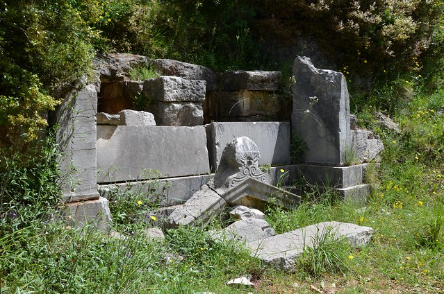 Temple-shaped facade tomb carved into the natural rock, built during the 3rd century BC, Necropolis of Phigaleia, Arkadia, Phigaleia