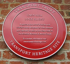 Photo of Caen Hill Lock Flight and John Rennie red plaque