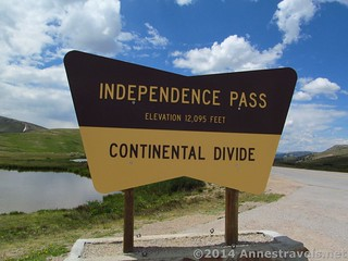 The sign at Independence Pass, White River National Forest and San Isabel National Forest, Colorado