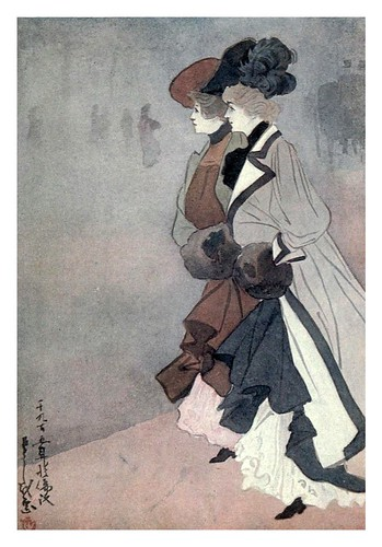 010-Señoras cruzando Piccadilly-The colour of London 1907- Yoshio Markino