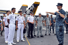 Republic of Singapore Navy officers tour USS George Washington (CVN 73), June 27. (U.S. Navy/MC1 Ben Farone)
