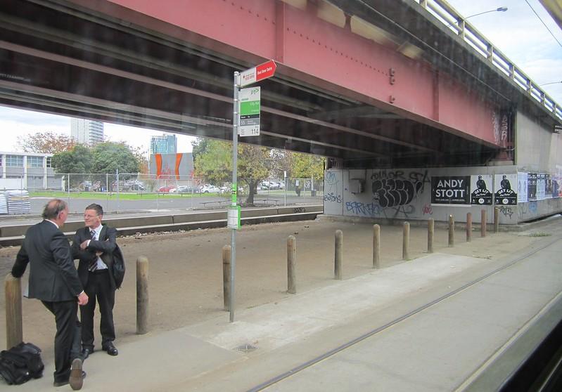 Tram stop below Kings Way
