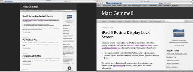 Safari on iPad 3 via Air Display - regular vs Hi-DPI modes