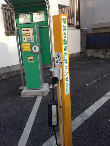 名古屋市内のコインパーキングには電気自動車充電コンセントが