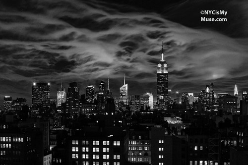Tonight's Ethereal NYC Sky in Black & White