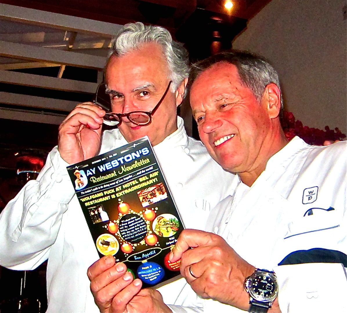Ducasse and Puck examine Jay's newsletter about Bel Air