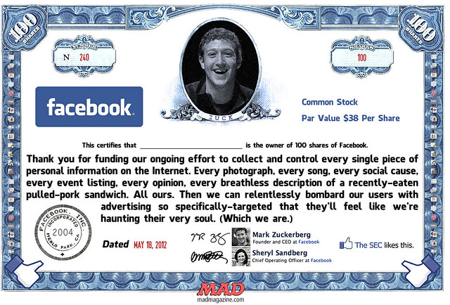 MAD Magazine's Fake Facebook Stock Certificate
