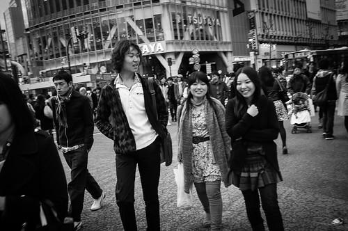 3 youths at Shibuya Crossing. Tokyo 2012