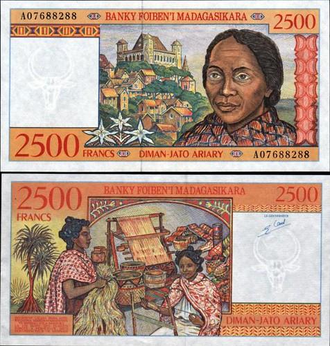 *2500 frankov Madagaskar 1998, Pick 81