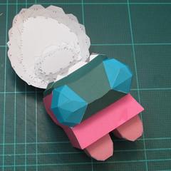 วิธีทำโมเดลกระดาษตุ้กตาคุกกี้รัน คุกกี้รสสตอเบอรี่ (LINE Cookie Run Strawberry Cookie Papercraft Model) 029