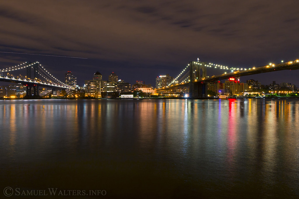 Brooklyn & Manhattan Bridges at Night