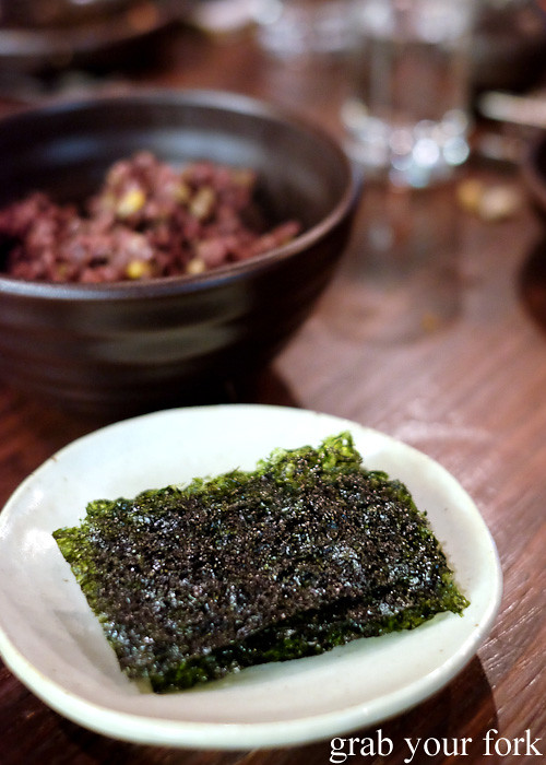 Ogok bap 9 grain rice and roasted seaweed at Kim Restaurant, Potts Point