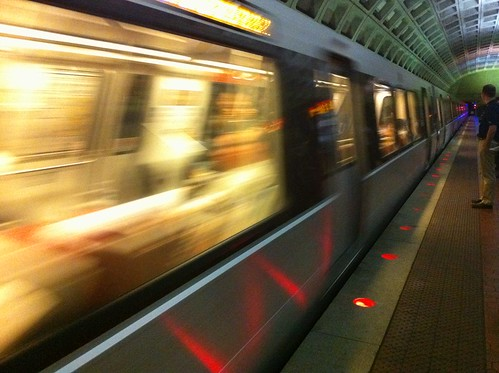 Metrorail Train Arrives At Foggy Bottom