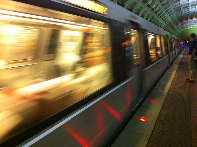 Metrorail Train Arrives At Foggy Bottom