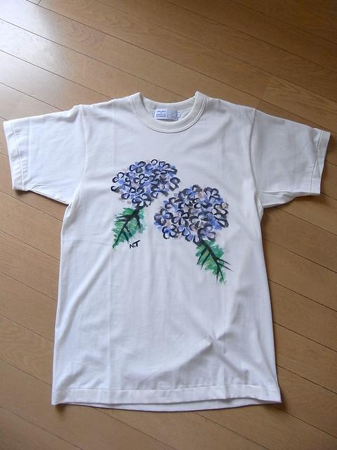 手描きTシャツ アジサイ1