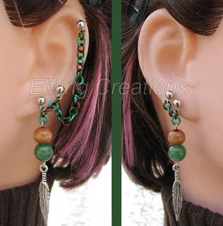 Brown and Green Feather Cartilage Chain Earrings