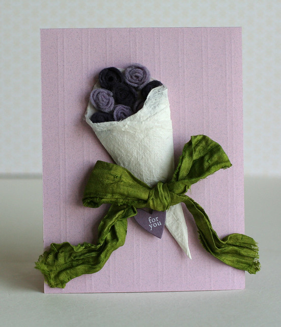 Felt Purple Flower Boquet Card