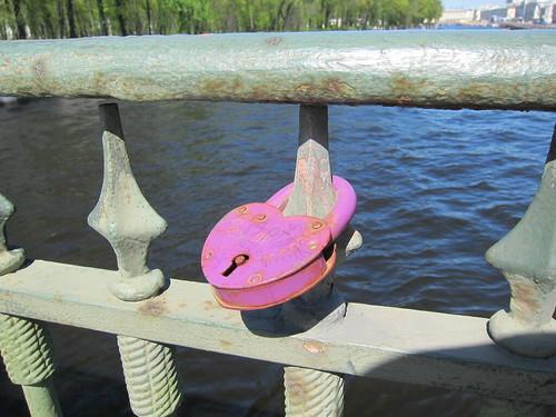 a love lock in Saint Petersburg