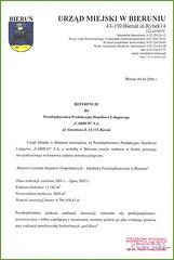 Referencje Urzędu Miejskiego w Bieruniu 2006r. (budowa Centrum Inicjatyw Gospodarczych)