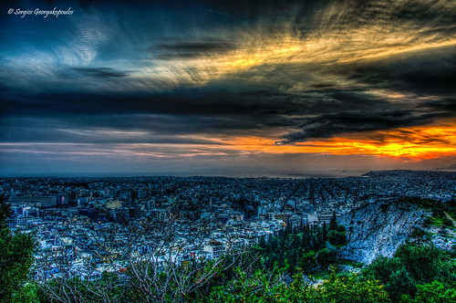city sunset buildings hill athens greece vista hdr philopappos
