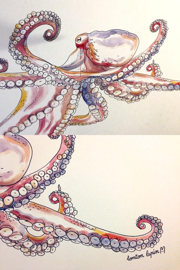 giant octopus wallpainting