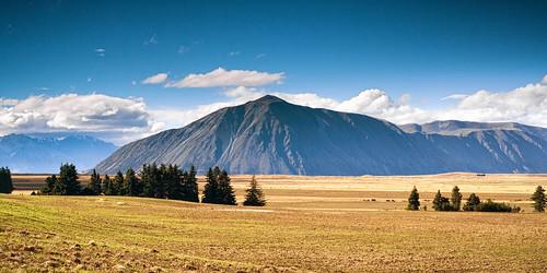 trees newzealand sky mountains clouds landscape árboles paisaje paisagem céu cielo nubes nuvens plains llanos montanhas montañas árvores novazelândia nuevazelanda planícies
