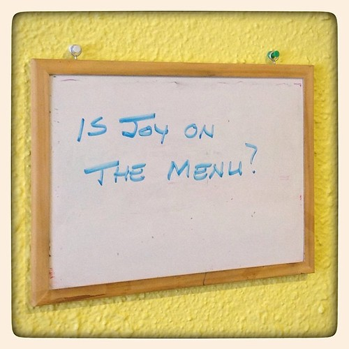 #fmsphotoaday June 1 - Joy. Went to our favourite diner for breakfast, which always brings me  joy. Mentioned today's photo prompt to my husband while we were waiting to order, then a few minutes later looked up, noticed this sign on the wall across from us, and nearly fell over with surprise. Apparently joy is on everyone's mind today!