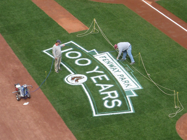 Fenway Park - logo prep - April 11, 2012