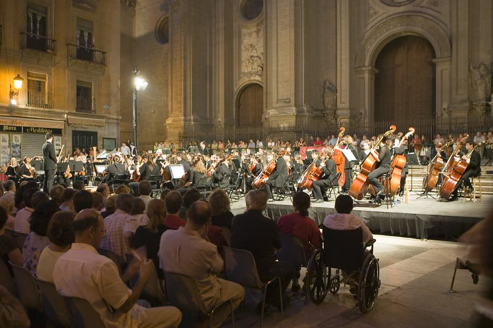 Boston Youth Symphony performs in the Plaza de las Pasiegas, Granda, as part of the Granda Festival in Spain