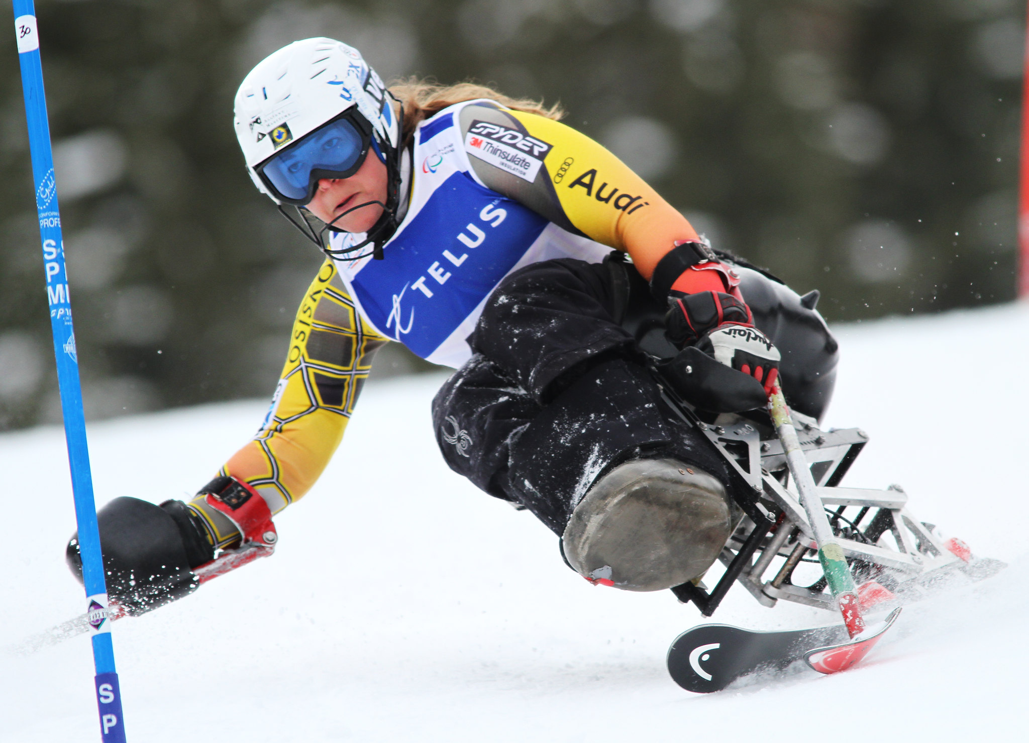 Kimberly Joines in action in an IPC World Cup slalom in Panorama, B.C.