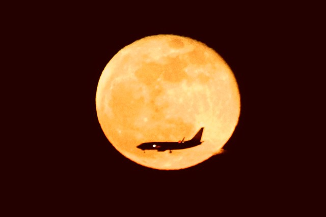 SuperMoon with Plane