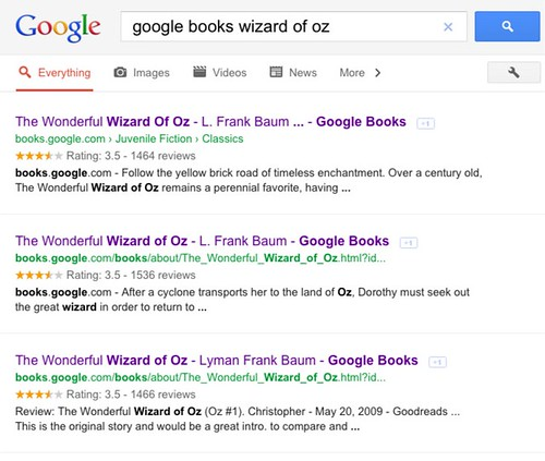 Google Search for Wizard of Oz on Google Books