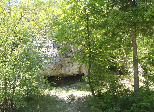 view of Skull Cave from road on Mackinac Island